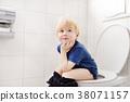 Cute little boy in restroom 38071157