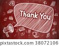 Thank You - Doodle Illustration on Red Chalkboard. 38072106