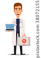 Young professional doctor holding laptop 38072155