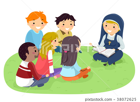 Stickman Teens Nun Outdoors Bible Study 38072625