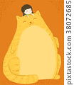 Kid Girl Fat Cat Belly Background 38072685
