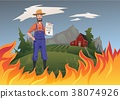 Farmer's insurance concept, vector illustration 38074926
