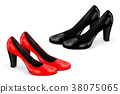 Women shoes. Black and red high heels 38075065