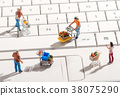 Miniature people with shopping carts on a keyboard 38075290