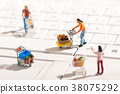 Miniature people shopping for items with carts 38075292