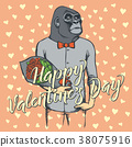Vector monkey with flowers Valentines Day 38075916