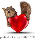 Cute Heart Squirrel 38078219