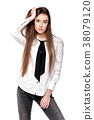 model in white shirt and tie 38079120