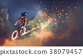 riding bicycle in outer space 38079457