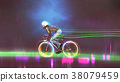 riding a mountain bike with neon lights 38079459