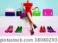 很多鞋子和包包和女性购物时尚 38080293