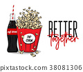 Vector popcorn box and soft drink bottle concept 38081306