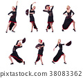 Woman dancing spanish dance isolated on white 38083362