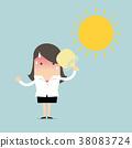 Businesswoman very hot with folding fan blow 38083724
