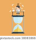 Businesswoman work hard at computer on sand clock 38083866