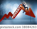 Businessman jumping over poverty in business 38084263