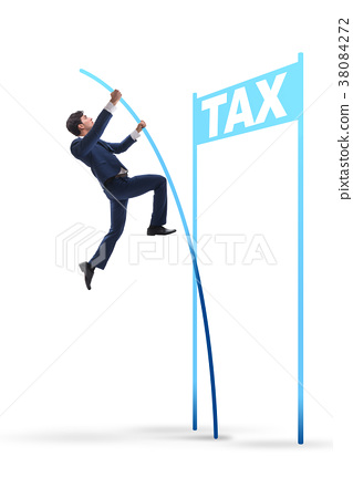 Businessman jumping over tax in tax evasion 38084272