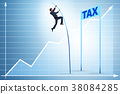 Businessman jumping over tax in tax evasion 38084285