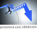 Businessman jumping over poverty in business 38084304