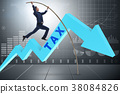 Businessman jumping over tax in tax evasion 38084826