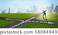 Young businessman at crossroads in uncertainty 38084949