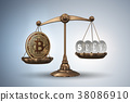 bitcoin, scales, 3d 38086910