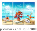 Set of illustrations, banners of a summer sandy 38087809