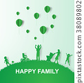 Paper art of Green background happy family 38089802