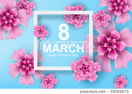 Paper art and craft of 8 march with women's day 38089879