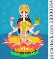 Lakshmi on a lotus in a flat style 38090364