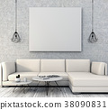 mock up poster frame interior living room,3drender 38090831