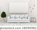 mock up poster frame in interior room , 3D render 38090982