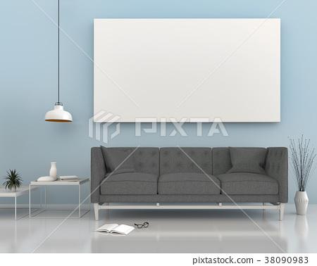 mock up poster frame in interior room , 3D render 38090983