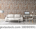 3D rendering of interior room with sofa, laptop co 38090991