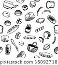 Bread Illustration Pattern White 38092718