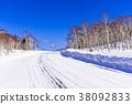 홋카이도의 하얀 눈길 38092833