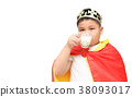 cute obese boy drinking milk isolated 38093017