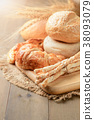Homemade bread sticks, croissant and bread 38093079
