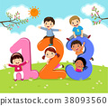 Cartoon kids with 123 numbers 38093560
