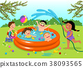 Kids playing in inflatable pool in the backyard 38093565