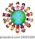 Multicultural kids holding hand around the world 38093566