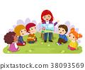 Teacher telling story to children in the garden 38093569