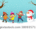 Winter fun. Happy children playing in the snow 38093571