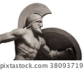Head in helmet Greek ancient sculpture of warrior 38093719