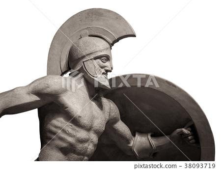 Head in helmet Greek ancient sculpture of warrior 38093719