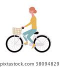 자전거 젊은 여성 일러스트 38094829