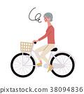 在自行車的資深婦女例證 38094836