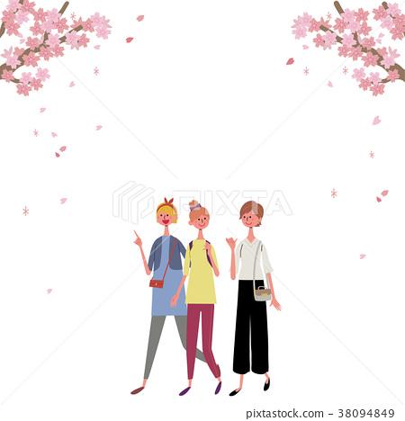 ภาพประกอบหญิงสาวเพื่อดูดอกไม้ 38094849