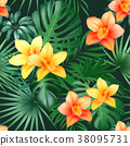 Tropical Palm Leaves and Orchid Flowers Background 38095731
