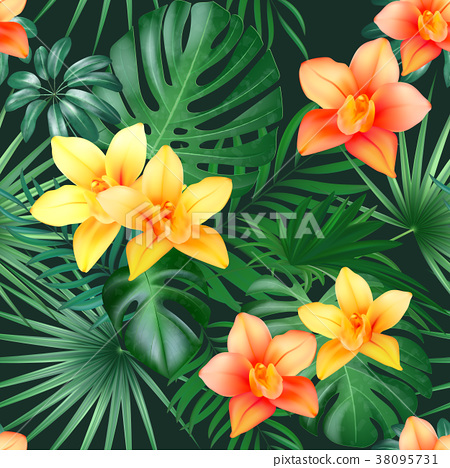 Tropical Palm Leaves And Orchid Flowers Background Stock Illustration 38095731 Pixta Beach cheerful seamless pattern of wallpaper from tropical green leaves of palm and flowers hibiscus cactus and birds pink flamingo on multicolor patchwork background. pixta